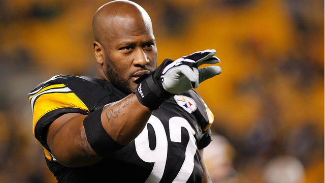 James Harrison visiting with Patriots Tuesday