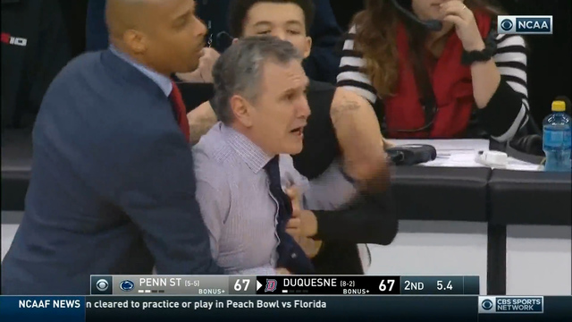 Duquesne Coach Meltdown Helps Penn State to Road Win